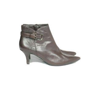 Bandolino Brown Leather Heel Booties Size 6